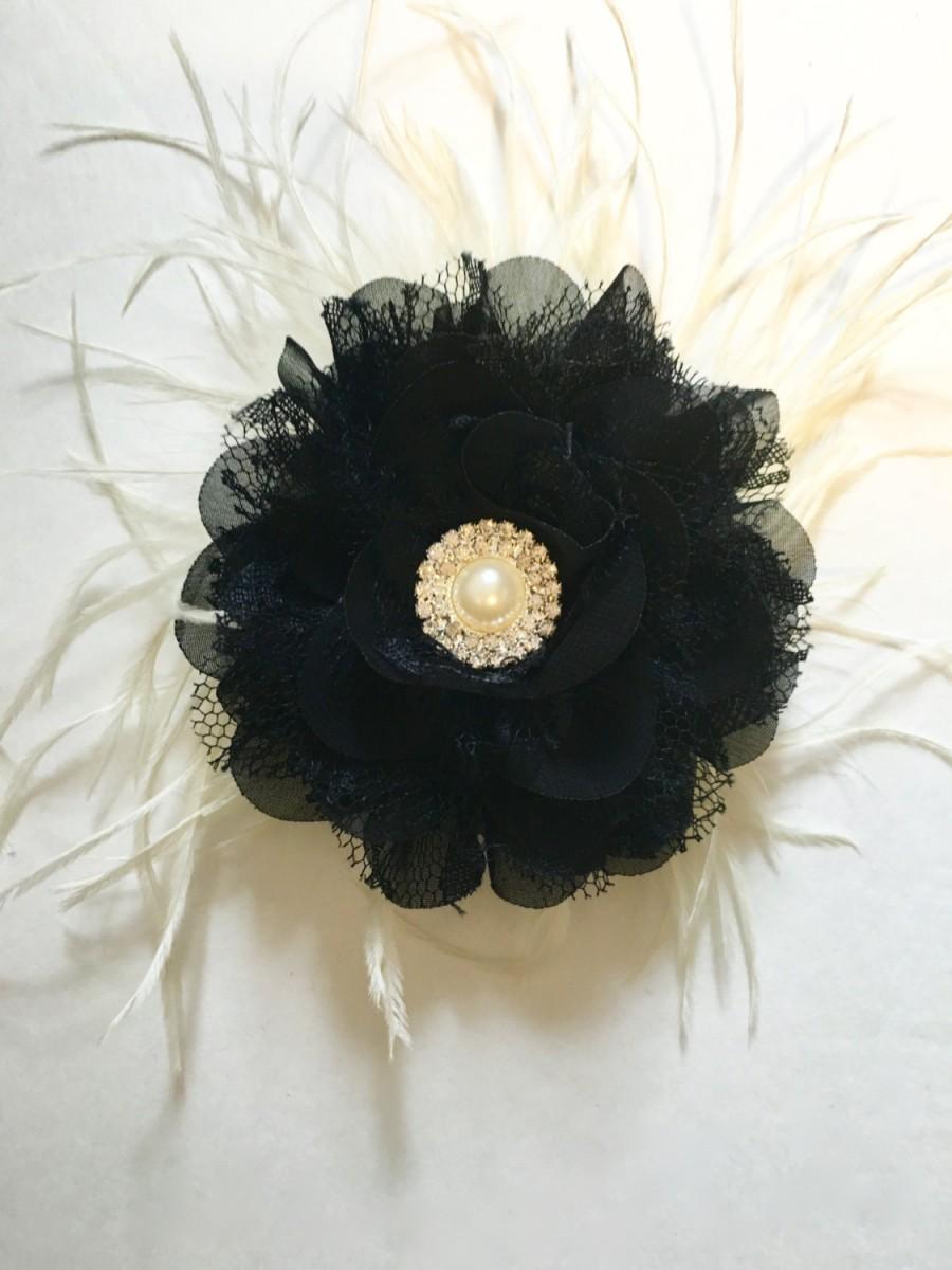 Black & Ivory Pearl Feather Fascinator. Black