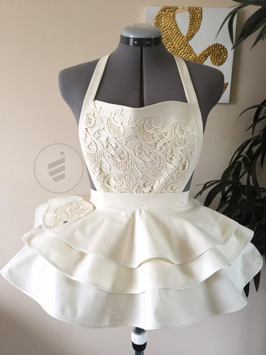 bridal shower ivory bride sexy apron bridal apron wedding gift ivory apron for the bride custom apron bride apron