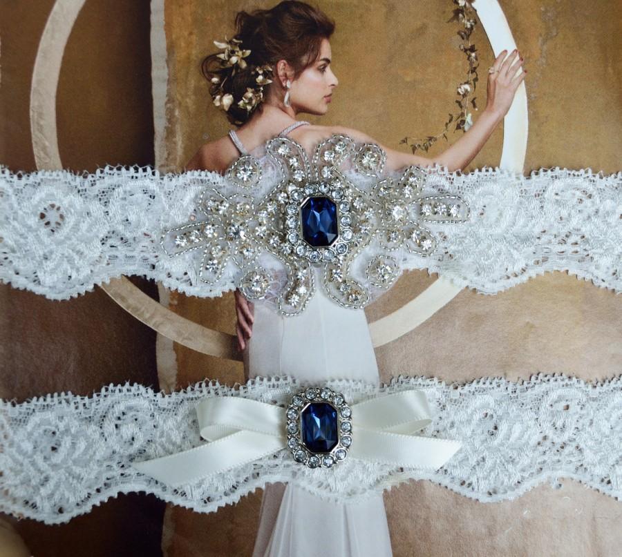 Hochzeit - Navy Blue Vintage  Wedding Garter Set, Crystal Bridal Garter Set, Vintage Inspired Wedding Stretch Lace Garter, Bridal Garter, Garter