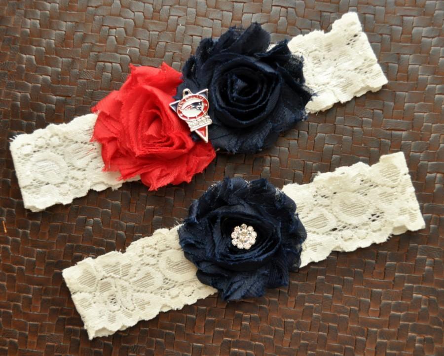 New England Patriots Wedding Garter Set Bridal Ivory Lace Football