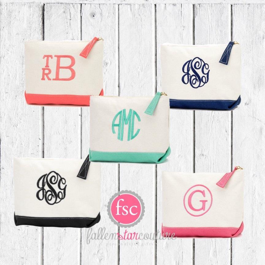 Mariage - Seven bridesmaid bags , bridesmaid make-up bags, monogrammed bag, wedding bag , bridesmaid gifts , personalized bridesmaid gifts