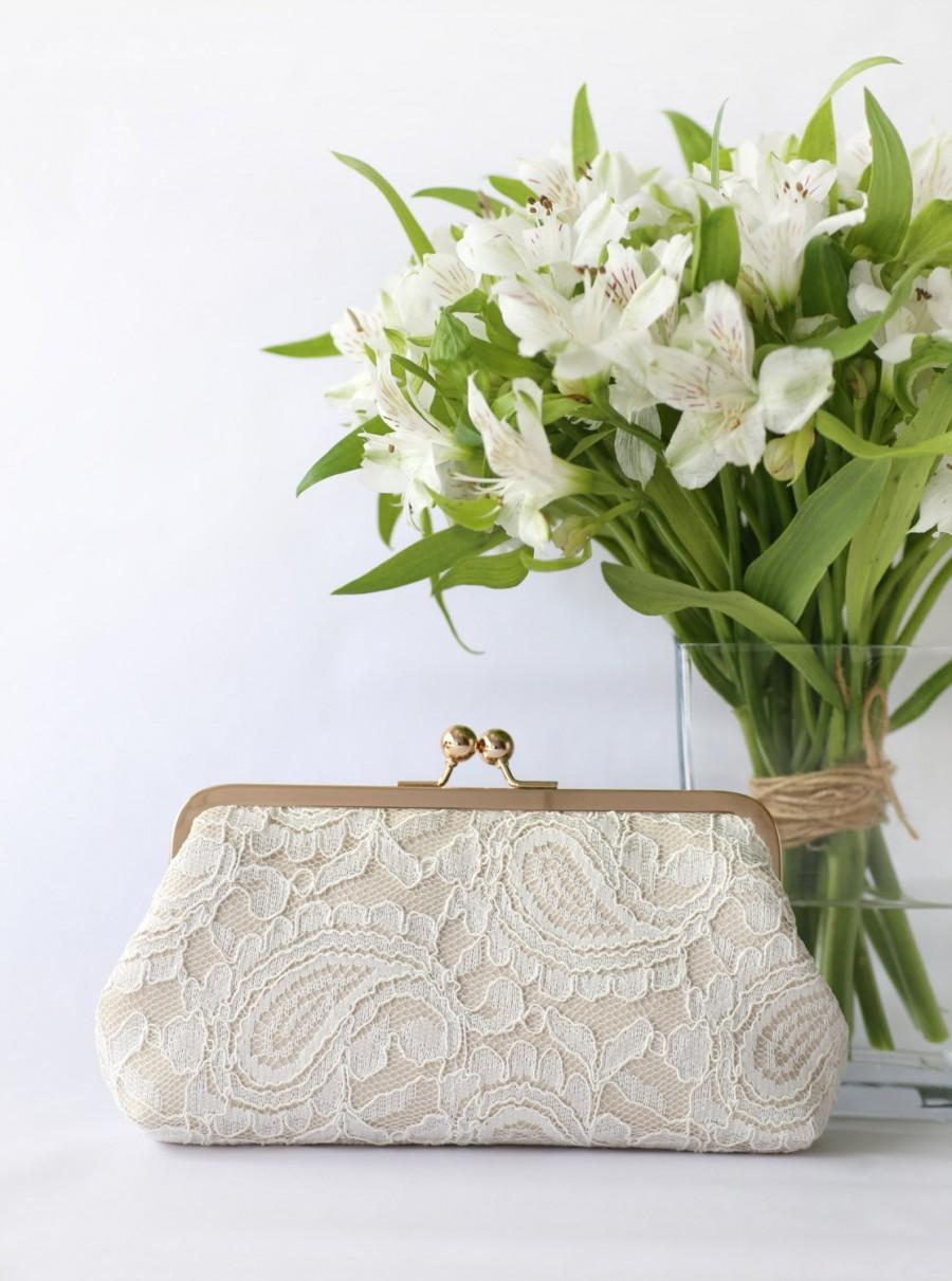 Mariage - Champagne and Ivory Alencon Paisley Lace Clutch