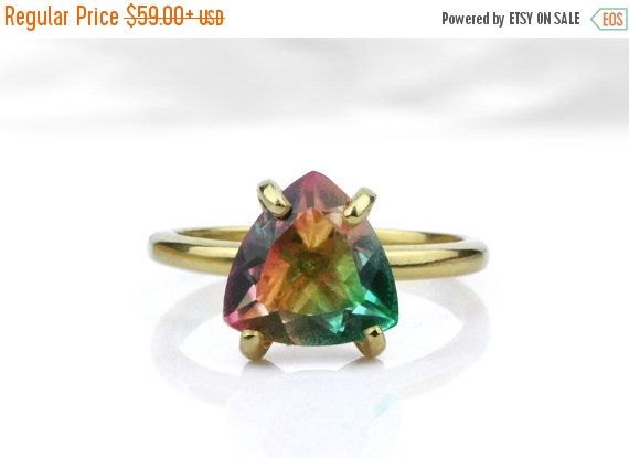 Mariage - SUMMER SALE - Trillion ring,gold ring,tourmaline ring,birthstone ring,watermelon ring,gemstone ring,14k gold ring,stacking ring