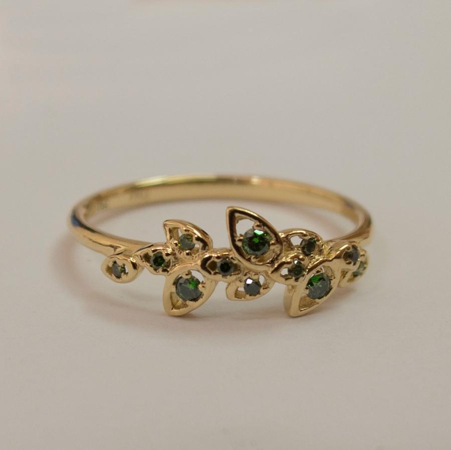 Свадьба - Leaves Engagement Ring  - 14K Gold and Green Diamonds engagement ring, engagement ring, leaf ring, filigree, art nouveau, vintage, 11