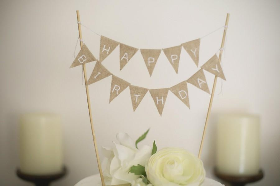 Happy Birthday Banner Cake Toppers Rustic Topper Photo Props Baby Party Decorationsshabby Chic
