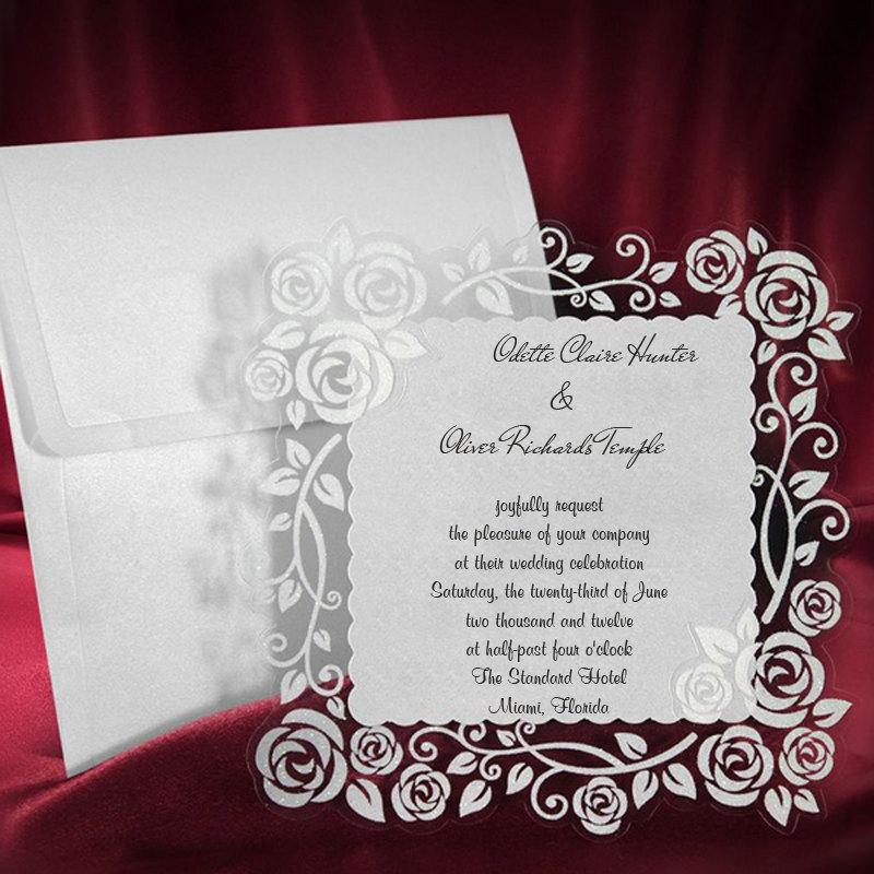 Lace Wedding Invitation Card Personalized Handmade Invite Rose Pattern Wonderful Elegant Party Birthday Cards Free Shipping