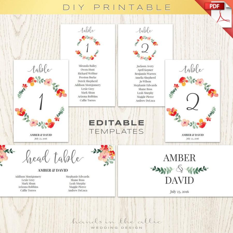 Wedding - Wedding table numbers, number printables, seating chart, floral wedding wreath - editable TEMPLATES diy instant download