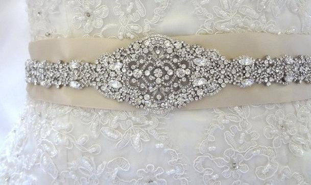 Wedding - Margaret Wedding Dress Beaded Jeweled Crystal Belt Sash Applique Embellishment