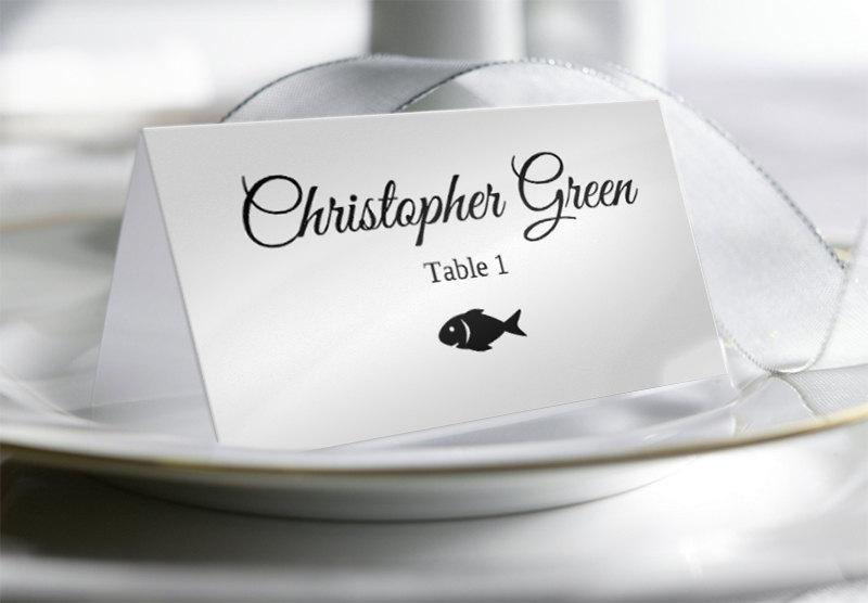 Wedding Place Card Template With Food Options