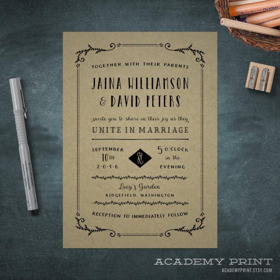 Mariage - Printable Kraft Wedding Invitation - Printable Rustic Wedding Invite - Garden Wedding Invitation - Hand Lettering - Invitation Calligraphy