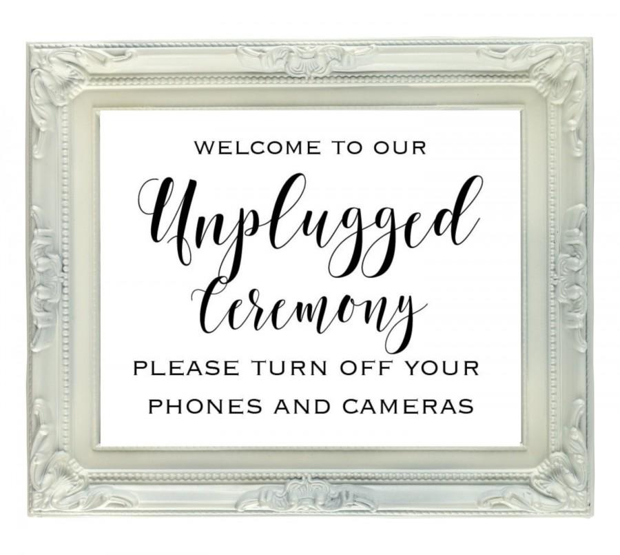 graphic regarding Wedding Sign Printable titled Unplugged Rite Indicator, 8x10 Unplugged Marriage ceremony Signal