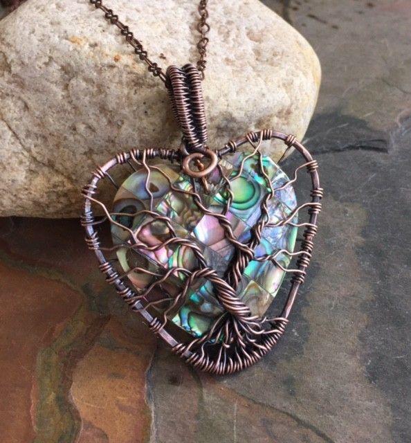 زفاف - Abalone Tree Of Life Copper Wire Pendant
