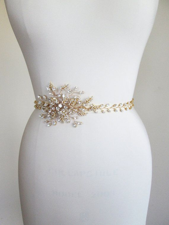 Swarovski bridal crystal belt sash rhinestone wedding for Gold belt for wedding dress