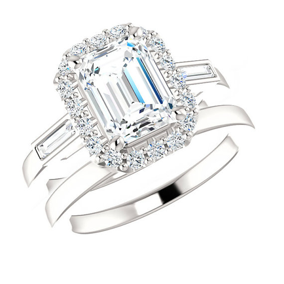 1 50 Ct Emerald Forever Brilliant Moissanite Baguette Diamond Engagement Wedding Set 14k 18k Or Platinum Sets For Women Bridal