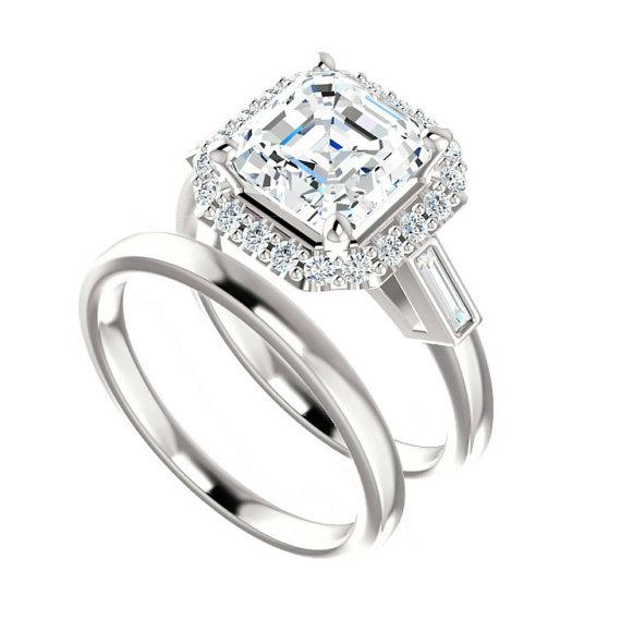 2 25 Ct Cher Forever One Moissanite Diamond Baguette Engagement Wedding Set 14k 18k Or Platinum Sets For Women Bridal Etsy