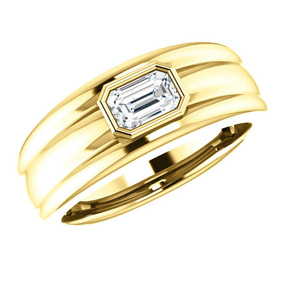Wedding - 6x4mm Emerald Forever Brilliant Moissanite Bezel Men's Ring 14K Yellow Gold, Men's Jewelry, Mens Anniversary Rings, Wedding Rings, Bands