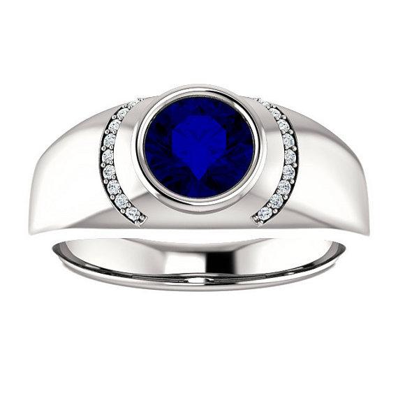 7mm Blue Sapphire Diamond Mens Ring 14k White Gold Mens