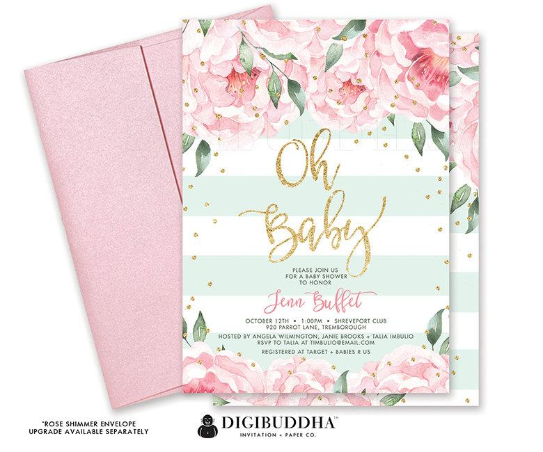 Oh BABY SHOWER INVITATION Pink Peony Mint Stripe Itu0027s A Girl Printable Baby  Shower Invite Ready Made Printed Baby Shower Invitation   Jenn  Printable Baby Shower Invite