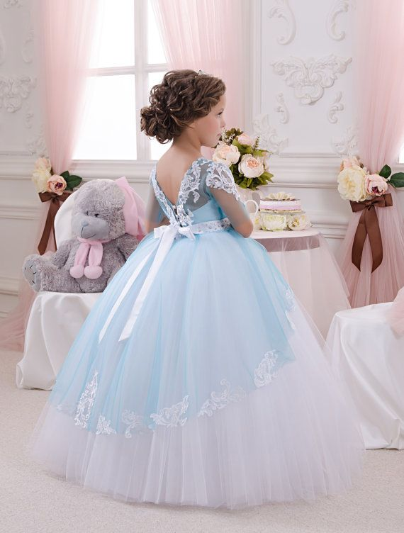Mariage - White And Blue Flower Girl Dress - Wedding Party Holiday Birthday Bridesmaid Flower Girl White And Blue Tulle Dress