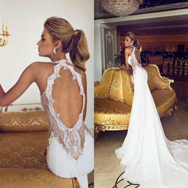 Boda - Charming 2015 Open Back Vintage Lace Wedding Dresses Sweetheart Applique Beads Chiffon Sexy Sheer Court Train Mermaid Bridal Gown Dress