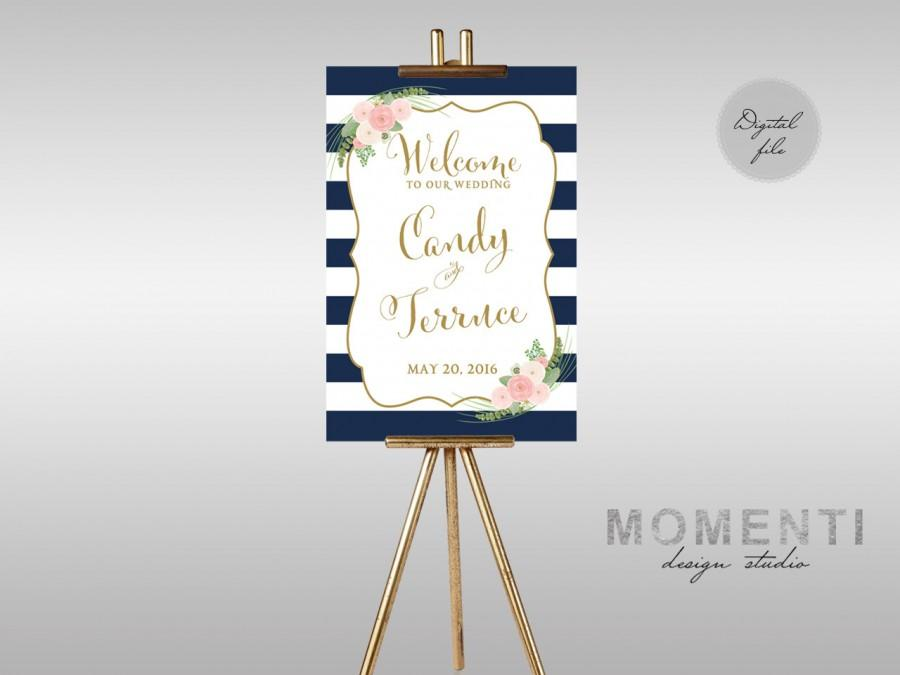 Mariage - Printable Wedding Welcome sign, Welcome sign stripe floral printable, Reception sign printable, Nautical welcome sign,The Shirley Collection
