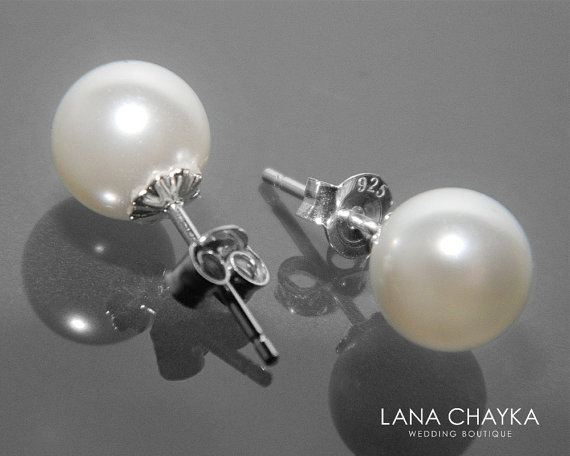 Mariage - White Pearl Stud Wedding Earrings 925 Sterling Silver White Pearl Studs White Pearl Bridal Earrings Swarovski 8mm Pearl Earrings Weddings