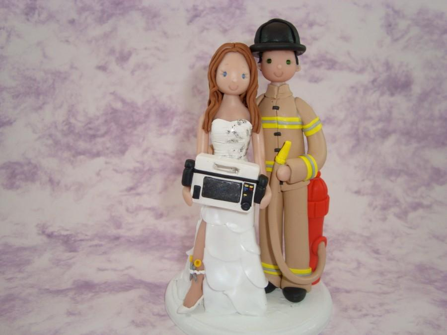 Hochzeit - Cake Topper - Customized Firefighter & Paramedic Wedding