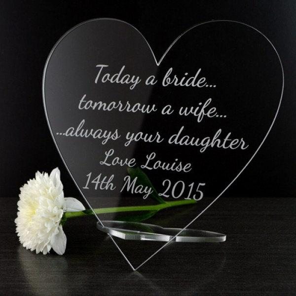Свадьба - Personalised Mother of the Bride Wedding Heart Plaque Gift from Daughter