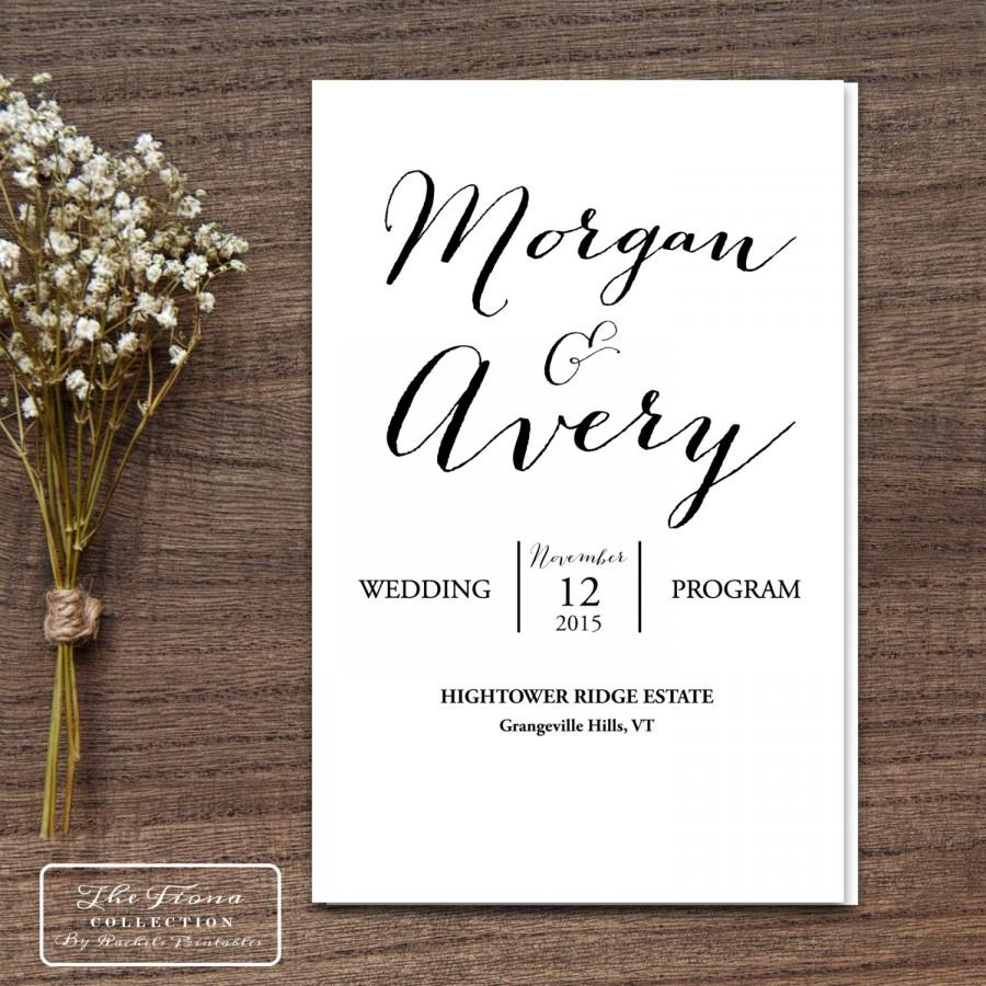 Printable Wedding Program Folding Booklet Four Pages