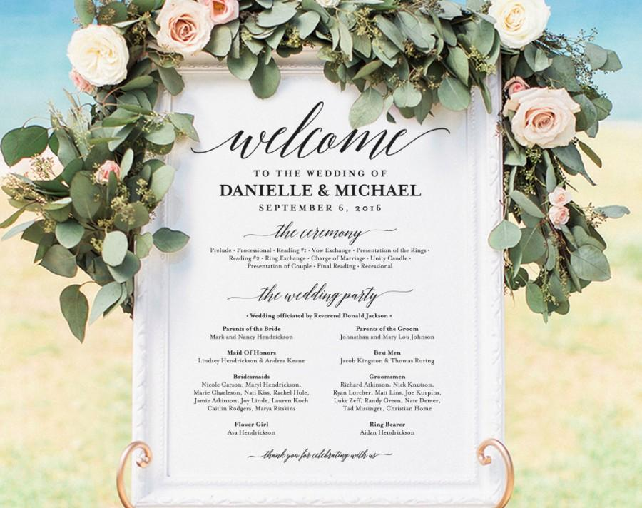 Mariage - Wedding program Sign, Welcome Wedding Sign, Program Sign, Wedding Sign, Wedding Poster, Template, DIY, PDF Instant Download