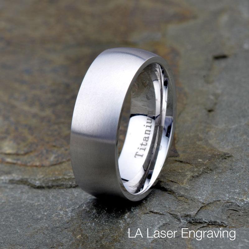 Titanium Wedding Band 8mm Brushed Domed Titanium Ring Anniversary