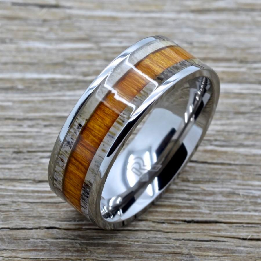 with wood koa ring band media titanium deer antler comfort rings wedding inlay fit