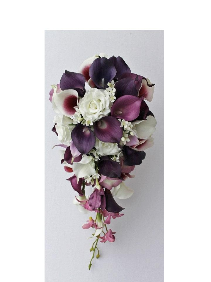 Cascade Wedding Calla Lily Bouquet Plum Bridal Real Touch Bouquets