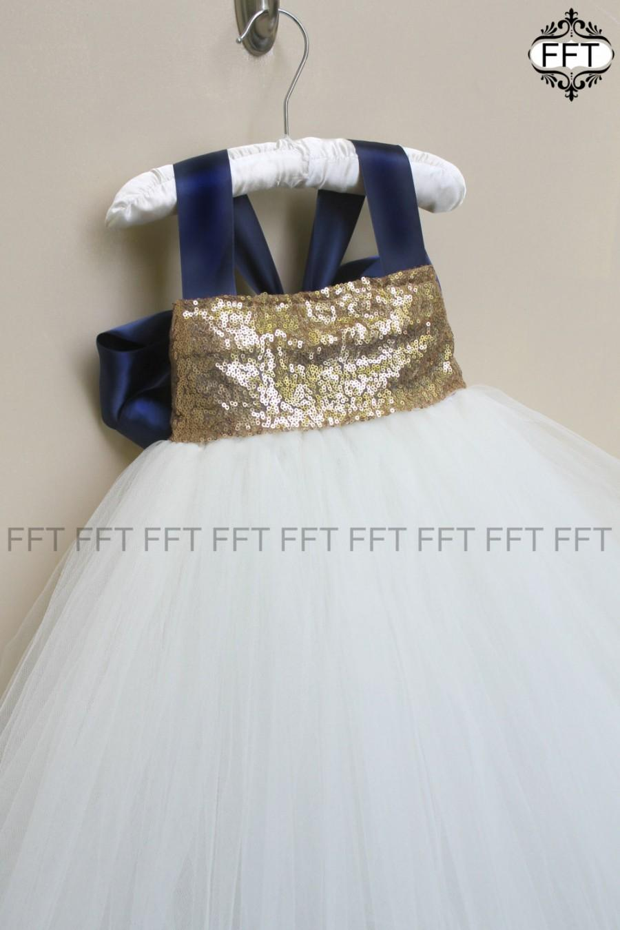 Ivory And Navy Blue Sequin Flower Girl Tutu Dress 2588399 Weddbook