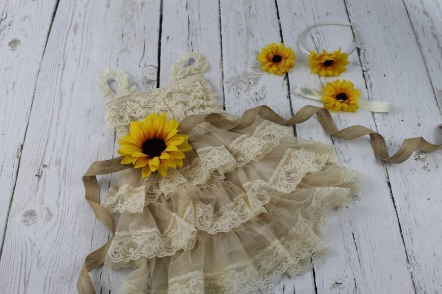 Wedding - Champagne Flower Girl Dress Sunflower Flower Girl Dress Champagne Jr Bridesmaids Dress Champagne Lace Flower Girl Dress Junior Bridesmaid