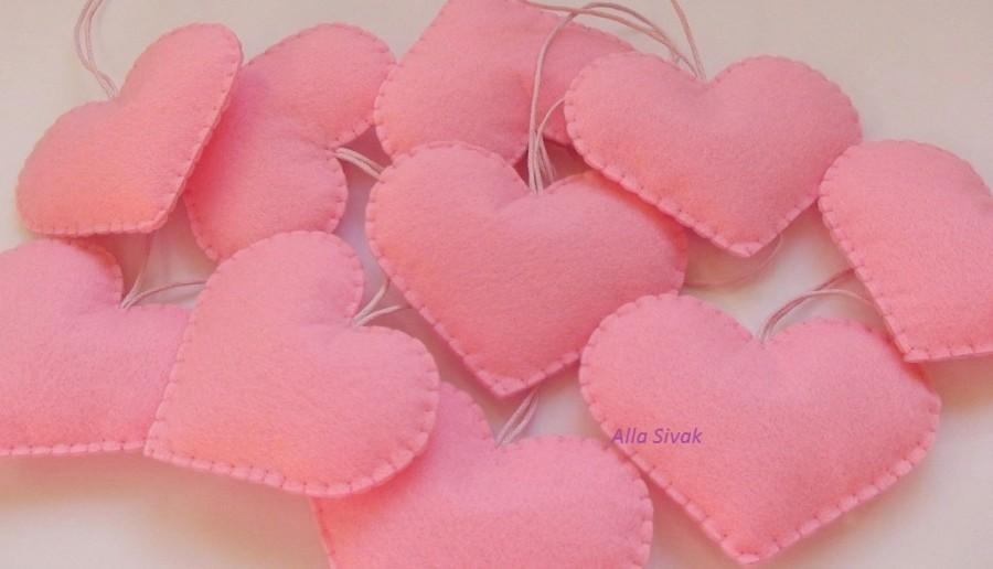 Set Of 10 Pink Heart Decorations Wedding Favors Pink Wedding Heart