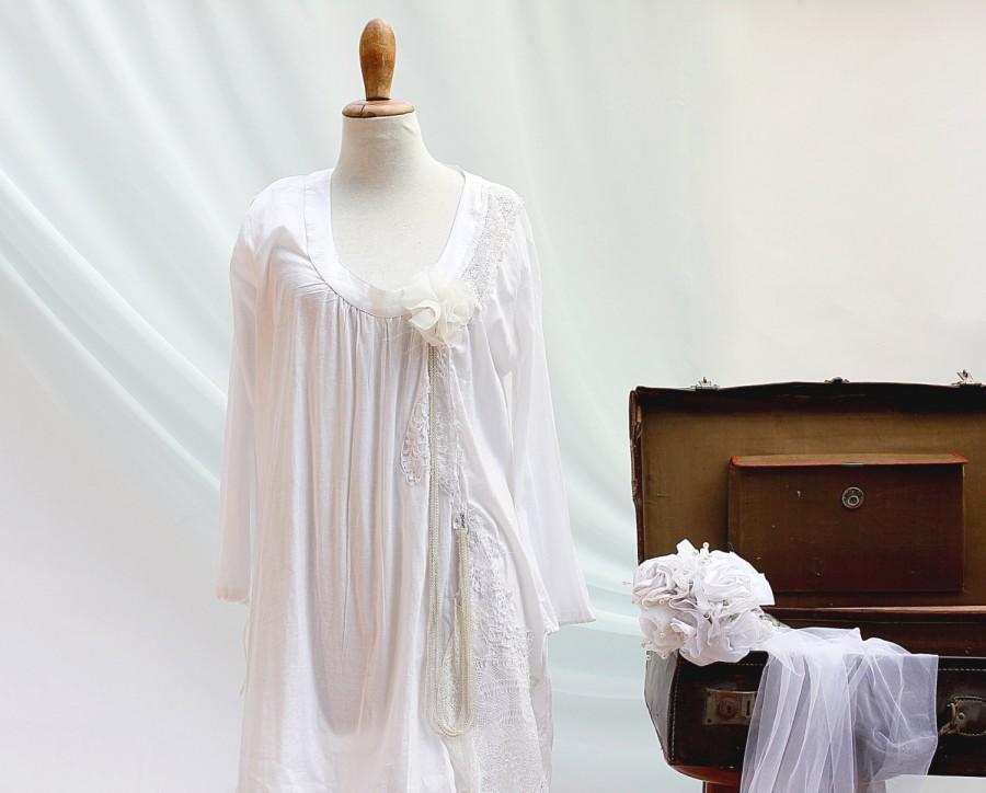 d9a7075fb2bf0 Rusmantic White Cotton Short Wedding Dress, Boho Rustic Wedding Dress,  Bridal Gown, Hippie Bride, Beach Wedding Dress, Bohemian