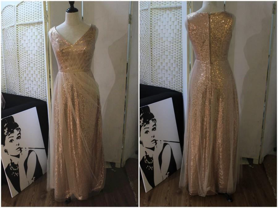 Hochzeit - Wedding Bridesmaid dress, Rose gold Tulle sequin dress, Bridal Bride Champagne Evening dress, V Neck Long Floor Length Party Prom dresses