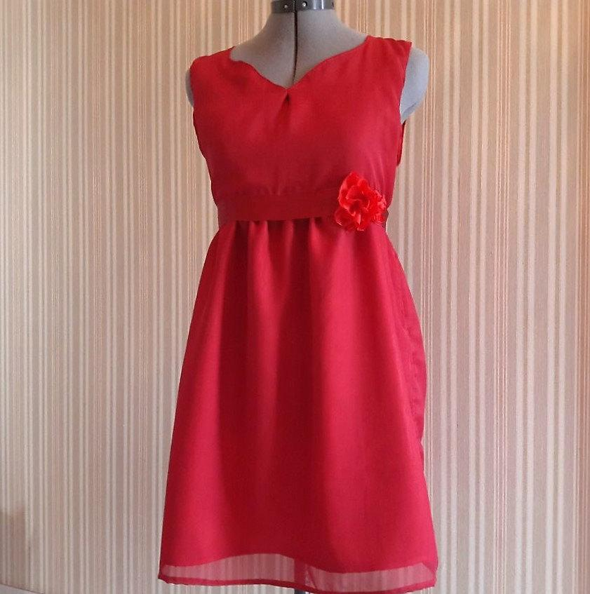 Wedding - Red dress with rose detail - Bridesmaid / Formal / Prom / Party / Evening / Holiday dress