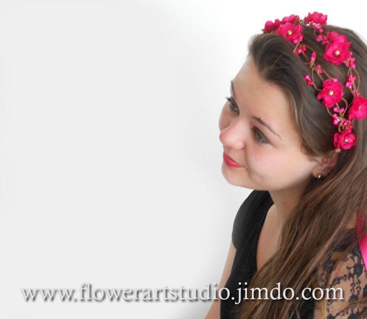 Wedding - Pink Floral Crown, Magenta Weddings, Wedding Headband,  Radiant Orhid Bridal Flower Crown ,Bridal Hair Accessories, Bridal Headband.