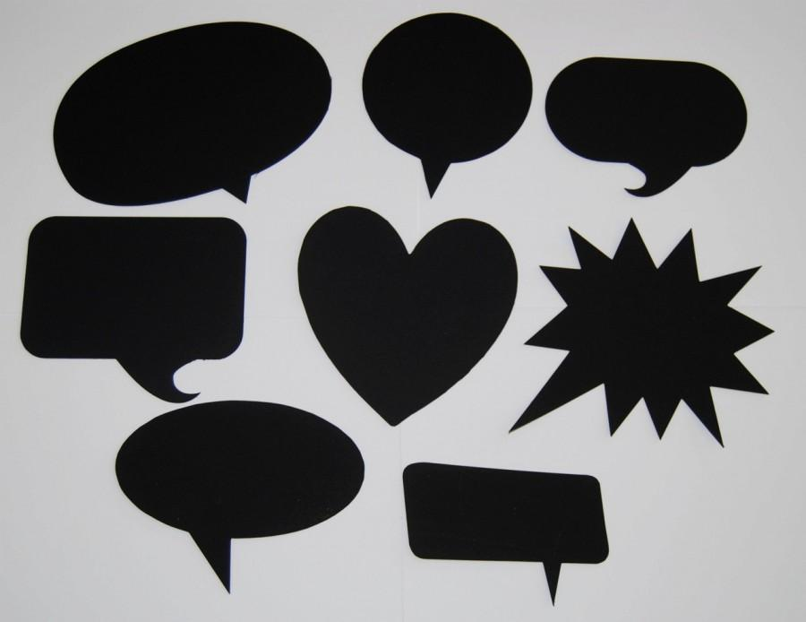 Свадьба - 8 Blank Chalkboard Speech Bubbles  - Customizable Party Decorations, Wedding,  Picture booth signs, Photo Props