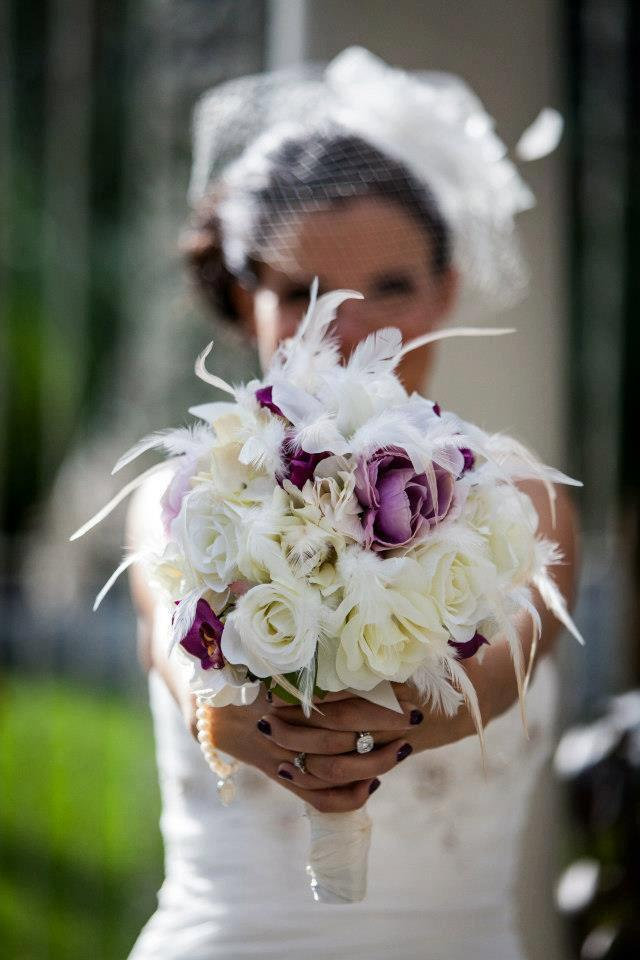 Mariage - TRUE LOVE  Wedding Bouquet With Feather Accents