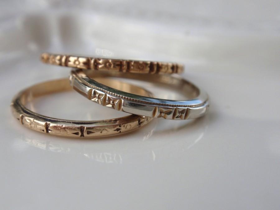 زفاف - Art Deco Ladies Wedding Band 10k Ring orange blossom flowers eternity forget me not yellow gold bottom ring