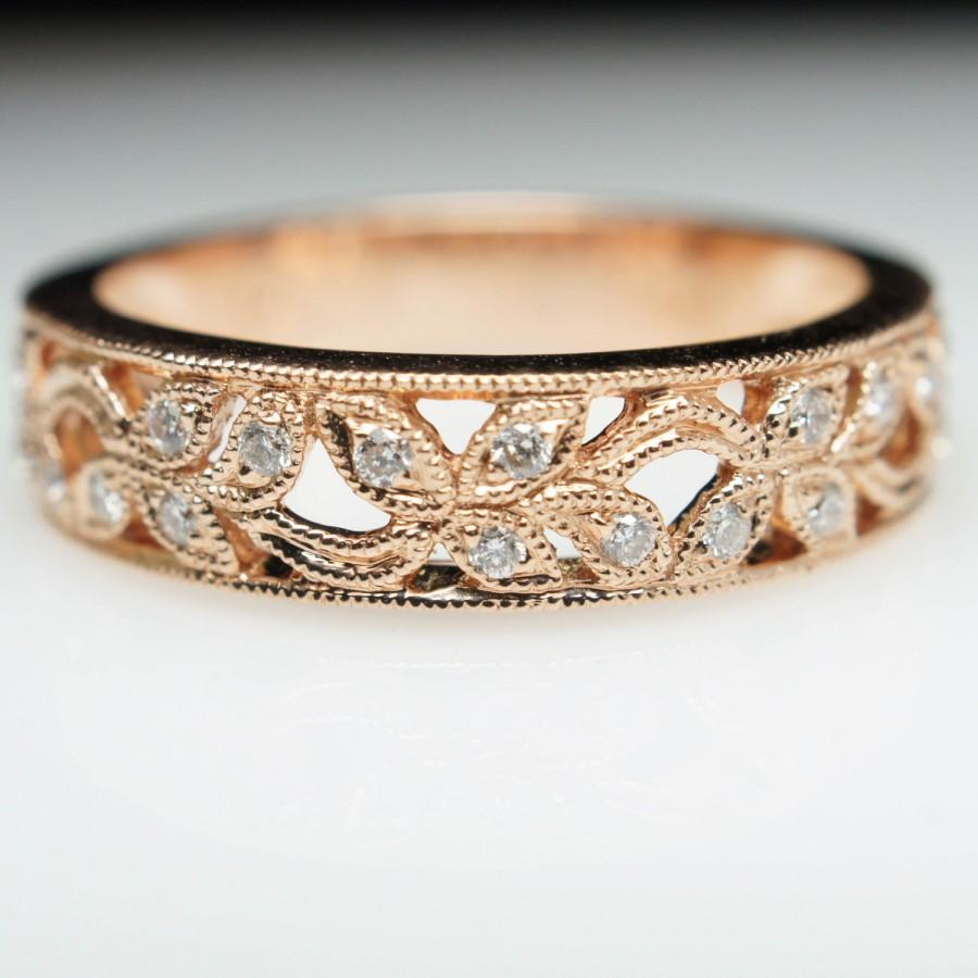 wedding sets band stacking gold diamond art bands ring retro flower anniversary rose deco vintage