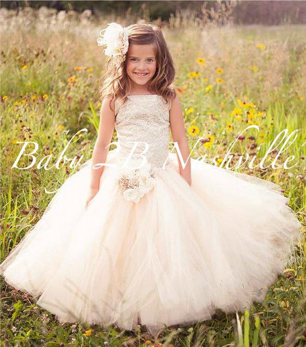 Wedding - Vintage Sequin Dress Lace Dress Flower Girl Dress Ivory, Cream and Khaki Dress Tulle Dress Party Dress Toddler Tutu Dress Girls Dress