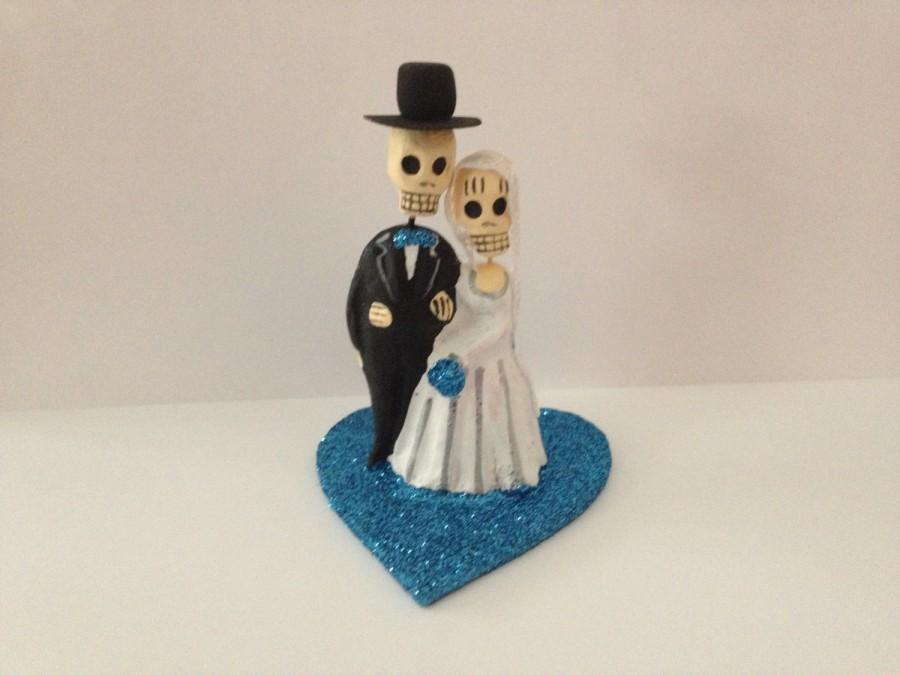 Wedding - Turquoise Blue Till Death Do Us Part Dia De Los Muertos Cake Topper - Halloween, Wedding, Engagment Party, Day of the Dead