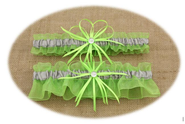 Mariage - Lime Green and Silver/Grey Wedding Garter Set, Bridal Garter Set
