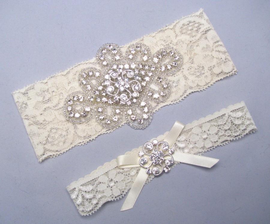Wedding - White / Ivory Lace Wedding Garter, Silver Garters, Custom Garter, Crystal Rhinestone Bridal Garter Set, Keepsake and Toss Garters