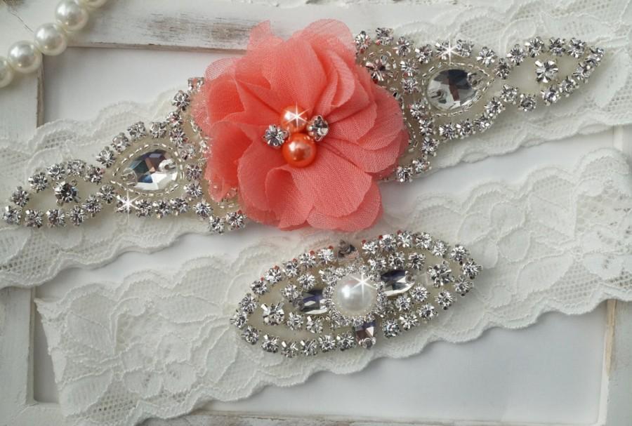 Wedding - Wedding Garter Set, Bridal Garter Set, Vintage Wedding, Lace Garter, Coral Bridal Garter, Coral Wedding - Style 150