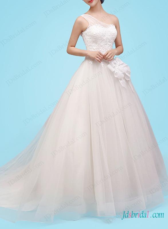 Wedding - H1460 Romance one shoulder princess ball gown wedding dress